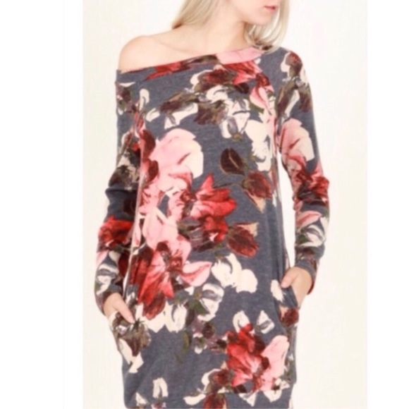 Sweaters - Floral One Shoulder Sweater